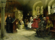Bible Painting Prints - Luther Preaches using his Bible Translation while Imprisoned at Wartburg Print by Hugo Vogel