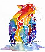 Whimsical Cat Art Prints - Luv Cat Print by Jo Lynch