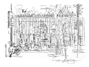 Garden Scene Drawings Metal Prints - Luxembourg Garden Gate Metal Print by Marilyn MacGregor