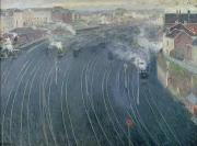 Trains Painting Prints - Luxembourg Station Print by Henri Ottmann