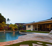 Stepping Stones Prints - Luxury Backyard Pool and Lanai Print by Inti St. Clair
