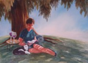 Wine Glasses Paintings - Luz and Me by Marilyn Jacobson