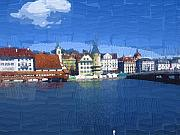 Switzerland Mixed Media - Luzern Lake Front by Chuck Shafer