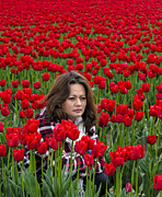 Portraiture Photo Posters - Lydia Surrounded By Red Tulips Poster by Paul W Sharpe Aka Wizard of Wonders
