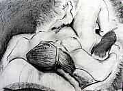 Brad Wilson Drawings - Lying Down Nude by Brad Wilson