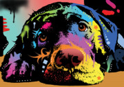 Dog Art Painting Metal Prints - Lying Lab Metal Print by Dean Russo