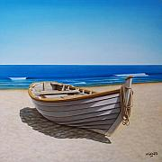 Fishing Boat Paintings - Lying on the sand by Horacio Cardozo