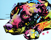 Pit Bull Mixed Media Metal Prints - Lying Pit LUV Metal Print by Dean Russo