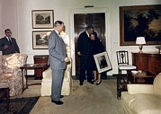 Moyers Framed Prints - Lyndon And Lady Bird Johnson Moving Framed Print by Everett