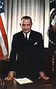 Flag Of The United States Posters - Lyndon Johnson 1908-1972, U.s Poster by Everett