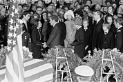 Former Senators Photo Prints - Lyndon Johnson Funeral. President Nixon Print by Everett