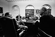 Cabinet Room Framed Prints - Lyndon Johnson Meeting With Civil Framed Print by Everett