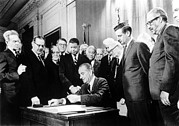 Lyndon Art - Lyndon Johnson, Signing Civil Rights by Everett