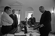 Gestures Photo Framed Prints - Lyndon Johnson With Former Kennedy Framed Print by Everett