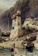 Fishing Village Framed Prints - Lynmouth in Devonshire Framed Print by Myles Birket Foster