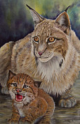 Lynx Painting Posters - Lynx Mom and Baby Poster by Dee Carpenter