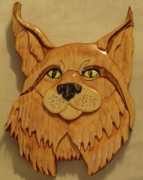 Intarsia Sculpture Posters - Lynx Poster by Russell Ellingsworth