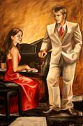 Formal Piano Posters - M and J Poster by Maryn Crawford