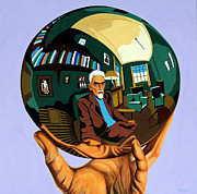 Influences Prints - M. C. Escher - Mirror Ball Print by Dennis McCann