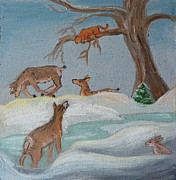 Does. Winter Prints - M is for Mountain Lion detail from Childhood Quilt Painting Print by Dawn Senior-Trask