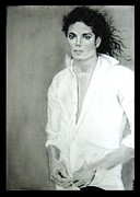 Michael Drawings Posters - M J Poster by Mickey Raina