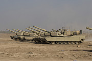 Cannons Metal Prints - M1 Abrams Tanks At Camp Warhorse Metal Print by Terry Moore