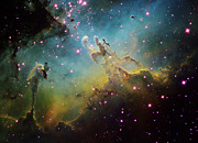 Interstellar Clouds Framed Prints - M16 The Eagle Nebula Framed Print by Ken Crawford
