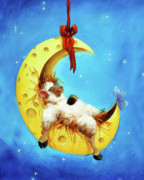 Nursery Room Art Prints Paintings - Maaah in the Moon by Conni Togel