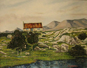 Connemara Paintings - Maam Valley Connemara Galway by Larry Burke