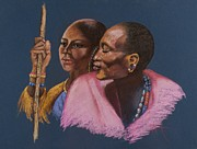 Robe Pastels Framed Prints - Maasai Soulmates Framed Print by Pamela Mccabe