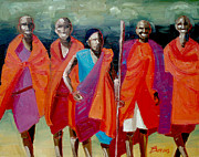 Maasai Painting Originals - Maasai Tribesman by John Burrows