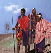 Tribes Framed Prints - Maasai Warriors Framed Print by Arline Wagner