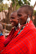Tribal Framed Prints - Maasai Women Framed Print by Adam Romanowicz