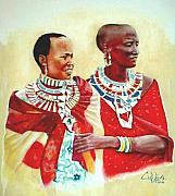 Maasai Painting Originals - Maasisters by G Cuffia