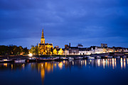 Stormy Night Prints - Maastricht Sint-Martinuskerk And Maas River Print by Marc Garrido