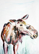 Winter Fun Paintings - Mable the Moose by Rachel Dutton