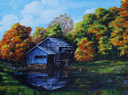 Mabry Mill Paintings - Mabry Mill in Autumn by Shirley Heyn