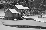 Grist Millpond Photo Prints - Mabry Mill in Black and White Print by Joe Elliott