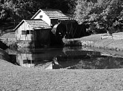 Grist Mill Posters - Mabry Mill in Black and White Poster by Thomas R Fletcher