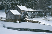 Grist Millpond Posters - Mabry Mill Winter Poster by Joe Elliott