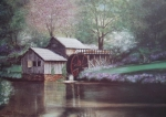 Grist Mill Paintings - Mabry Mills by Charles Roy Smith
