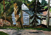 Fir Trees Painting Prints - MacArthur Park Print by Charlie Spear