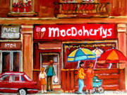 Montreal Street Life Paintings - Macdohertys Icecream Parlor by Carole Spandau