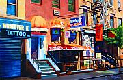 Cities Mixed Media Metal Prints - MacDougal Street Metal Print by John Tartaglione