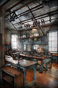 Shop Teacher Prints - Machinist - Steampunk - The contraption room Print by Mike Savad