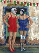 Mexican Folklore Paintings - MACHO MENos by Nancy Almazan