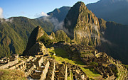 Ancient Civilization Framed Prints - Machu Picchu And Fog In Morning Framed Print by Matt Champlin