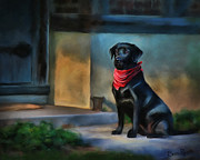 Black Lab Digital Art Framed Prints - Mack Waits Framed Print by Suni Roveto