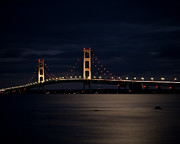 Upper Peninsula Framed Prints - Mackinac Bridge at Night Framed Print by Larry Carr