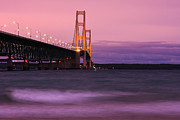 Mackinac Bridge Prints - Mackinac Bridge Dusk Print by James Marvin Phelps
